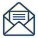 Mail coming out of envelope icon.