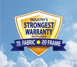 Industry's Strongest Warranty Non Pro-Rated 15 Years Fabric 20 Years Frame badge.