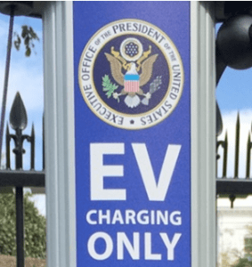 EV Charging Station sign at White House