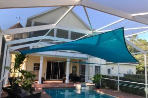 DIY shade sail over a residential pool